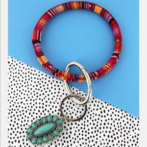 Jewelry - Turquoise Beaded Oval Red Serape Bangle Keychain